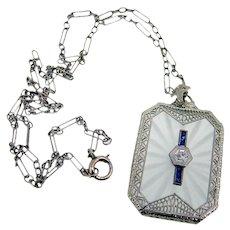 Art Deco Fancy 10k Camphor/Satin Glass Diamond & Sapphire Pendant -