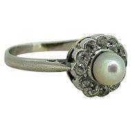 Edwardian 14kt Pearl & Diamond Ring - 14kt White and Yellow Gold