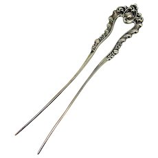 Victorian Sterling Repousee Dainty Hair Comb  4 3/4 Inches