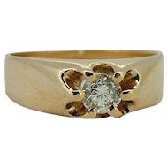 .35ct Diamond in Victorian 14kt Belcher Mount Ring
