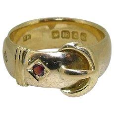 Victorian 18kt Hallmarked Buckle Ring - Ruby/Diamond