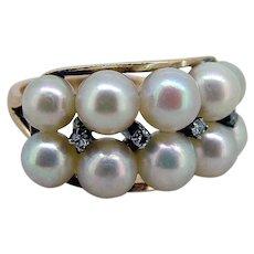 Vintage 14k Cultured Pearl & Diamond Ring - Mid 20thC