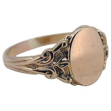Vintage 14kt Signet Ring - Early 20th Century - No Initials