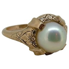 Lovely Vintage 8mm Cultured Pearl 14k Yellow Gold Ring