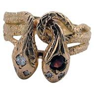 Victorian Large Double Headed Snake Ring - Diamond / Garnet