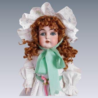 """Antique German 20"""" Kestner Bisque Shoulder Plate Doll Fine Cloth Body Excellent"""