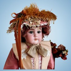 "Antique E U St Steiner 20"" Bisque Shoulder Head Doll No Damage Bisque Kid Body Sleep Eyes"