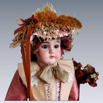 """Antique E U St Steiner 20"""" Bisque Shoulder Head Doll No Damage Bisque Kid Body Sleep Eyes"""