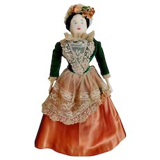 """Vintage Pearl S. Church Signed 14"""" Quality Americana: Artist Hand Made Cloth Folk Art Doll Circa 1960 OOAK Doll Antique Millinery Flowers & Venetian Lace"""
