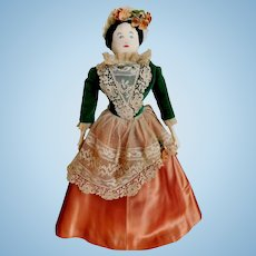 "Vintage Pearl S. Church Signed 14"" Quality Americana: Artist Hand Made Cloth Folk Art Doll Circa 1960 OOAK Doll Antique Millinery Flowers & Venetian Lace"