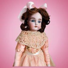 "Kestner 22"" 154 Dep 7 1/2 Bisque Doll Turned Shoulder Head GERMANY Sleep Eyes Original Wig Kid Body Partial Paper Label on Chest Good Condition"