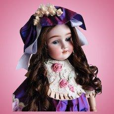 "Antique German Heinrich Handwerck Adolf Wislizenus 24"" Markings: Special 65 Bisque Doll Blue Sleep Eyes BJ Comp/Wood Body Gorgeous Full Human Hair Wig"