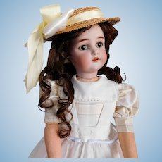 "Halbig K Star R 58 25"" Bisque Socket DOLL Head Child w/ Sleep Eyes, Pierced Ears, Compo & Wood B.J. Body Some Wear Good Condition"
