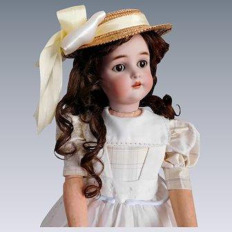 "Antique Halbig K Star R 58 25"" Bisque Socket Head Child w/ Sleep Eyes, Pierced Ears, Compo & Wood B.J. Body Some Wear Good Condition"