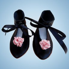 """Large Black Kid Leather Doll Shoes 4"""" x 1 3/4"""" Widest Point New Made by LORITA COHEN Silk Bows Satin Ties Leather Soles Hand-Made Signed & Dated"""