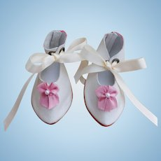 """White Kid Leather Doll Shoes 3 5/8"""" x 1 5/8"""" Widest Point New Made by LORITA COHEN Burnished Antiqued Leather Soles Hand-Made Signed & Dated"""