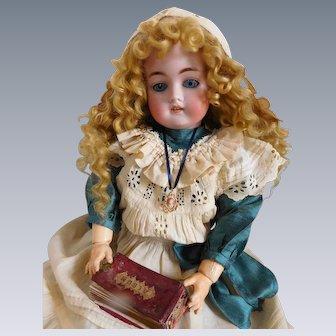 "Kestner E 168 9 Bisque Head 22"" Tall Doll BJ Body Blue Eyes Lovely Wig Body is Good"