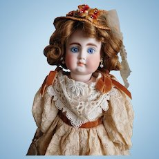 """Premiere Belton 190 Bisque 13"""" TALL Solid Dome Bisque Shoulder Head Doll Kid Leather Body Excellent Original Costume, Human Hair Wig PURSE Sold Separately"""