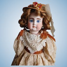 "Premiere Belton 190 Bisque 13"" TALL Solid Dome Bisque Shoulder Head Doll Kid Leather Body Excellent Original Costume, Human Hair Wig PURSE Sold Separately"