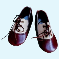 """Boy Doll 3"""" Leather Shoes Old Artist Store Stock Marked LENORE Leather Uppers & Leather Soles"""