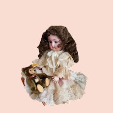 """William Goebel 120 -2 Doll 16"""" Precious Sweetheart Tall! BAVARIA, GERMANY Great Wig & Antique Lace Dress / Hat Ensemble"""