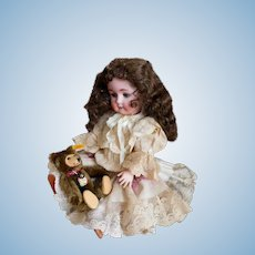 "William Goebel 120 -2 Doll 16"" Precious Sweetheart Tall! BAVARIA, GERMANY Great Wig & Antique Lace Dress / Hat Ensemble"