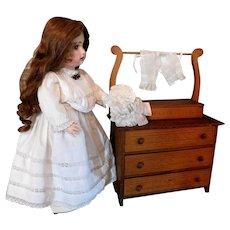 Vintage Wood Doll Furniture Washstand Dresser Chest for Jumeau Bru Kestner Dolls Top Compartment Opens 3 Drawers