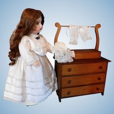 Vintage Wood Doll Furniture Washstand Dresser Chest for Jumeau Bru Kestner Dolls Top Compartment Opens 3 Drawers