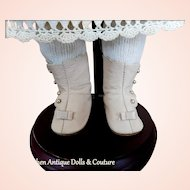 """Leather Doll Boots Shoes 2 3/4"""" Length Beige/Ecru Leather Soles New Artist Old Stock Stamped LENORE"""