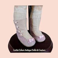 """Leather Doll Boots Shoes 2 1/4"""" Length Mauve/Beige Suede & Smooth Leathers / Leather Soles New Artist Old Stock Stamped LENORE"""