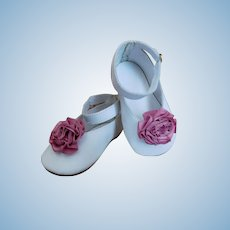 "Doll Leather Shoes White 3 1/2"" Artist 'LENORE' Handmade Mary Jane Slide Buckle Closures Pink Focal Rosette Accents"