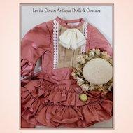 "Doll Dress for JUMEAU 20"" Tall Doll Vintage Fabrics All SILK"