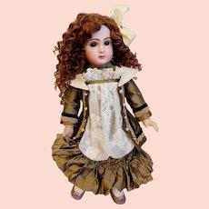 Jumeau Antique Doll DÉPOSÉ TÊTE Jumeau No. 9 Hand-Sewn Auburn Mohair Wig Nicely Dressed w/ Corset & Undies