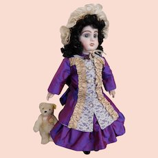 """Doll Dress for Jumeau 17"""" to 19"""" Tall 100% Silk Vintage Lace"""