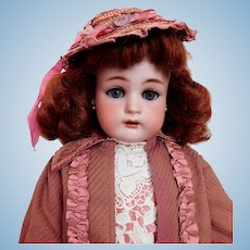 "Simon & Halbig K*R 20 1/2"" Doll Mohair Vintage Outfit / Hat Leather Shoes Redhead BEAUTY"