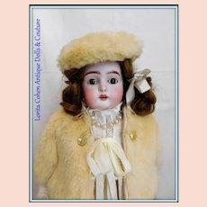 "Kestner 17"" Bisque 7 / 166 Antique Doll Original Outfit & Mohair Wig"