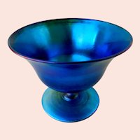Tiffany Favrile Blue Glass Compote Signed New York Studios