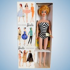 Vintage BARBIE Blonde Bubble Cut Doll w/ Box Wrist Tag Unplayed w/ Cello Booklet & All Accessories EXCEPTIONAL CONDITION