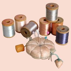 Vintage Silk Wooden Spools 7 Different Coulers Appear Full w/ Little Use