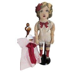 Cloth Rag Muslin Doll Circa 1910 Lithographed GOOD CONDITION Primitive Boudoir