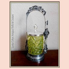 Victorian Vaseline Glass Pickle Castor Daisy and Button Rogers & Bro 4615 Triple Plate Original Tongs