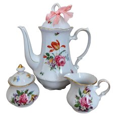Bavarian Bone China Coffee Pot, Creamer & Sugar VINTAGE Floral