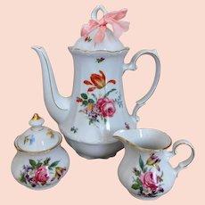 Bavarian Bone China Coffee Pot, Creamer & Sugar VINTAGE Floral