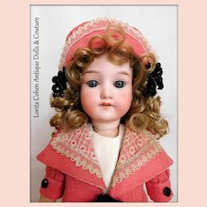 Armand Marseille 390 n. D.R.G.M. 246/1 A O 1/2 M Doll Made in Germany Blue Eyes in Vintage Travel Outfit Vintage Pin on Dress