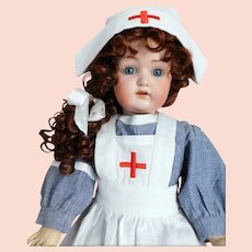 "Kestner 214 Doll 22 1/2"" WWII Nurse Watery Blue Eyes Red Cross"