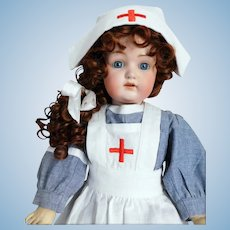 "Kestner 214 Doll 22 1/2"" WWII Nurse Watery Blue Eyes Red Cross"