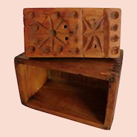 Butter Mold Dated 1902 Carved Pattern Dovetailed