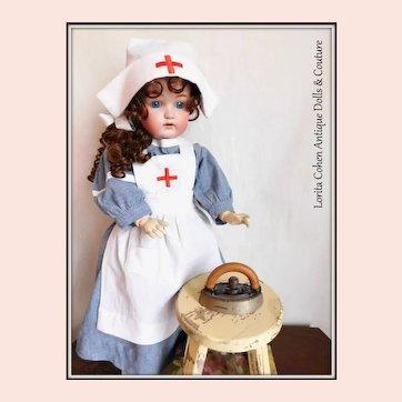 Vintage Doll Sad Iron w Wood Walnut Handle Salesman Sample / Collars & Cuffs Miniature Size