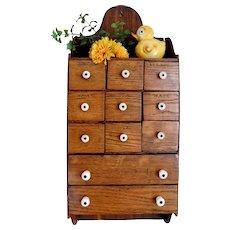 Vintage Wall Wood Spice Cabinet / Shelf / Spice Rack