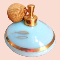 Vintage DeVilbiss Perfume Bottle S-500 87 ROBIN'S EGG BLUE Original Paper Label CIRCA 1956 / 22KT
